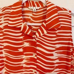 CAbi paint brush stroke orange, vanilla dress